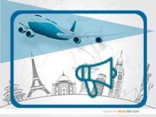 imagen genérica de las convocatorias del sector: elementos de viaje y megáfono